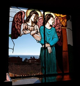 Copacabana, Bolivia: A stained glass window reportedly broken by thieves at